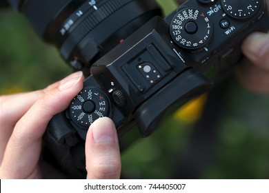 Camera on hand, Photographer, Photographic, hand adjusting camer
