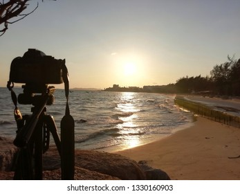 Camera on stand at twilight time