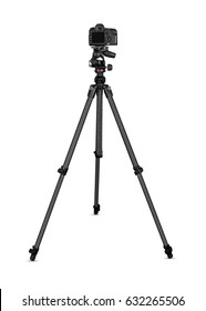 Camera on tripod isolated on white