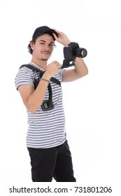 Camera operator equipped with Steadicam stabilizing system. Isolated on white background.
