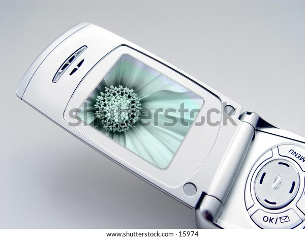 Camera Phone with Black and green screen with has a flower picture on it