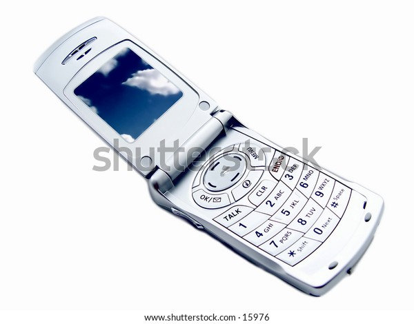 Camera Phone full view with picture of clouds on screen, isolated on white background