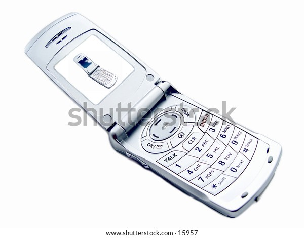 Camera Phone isolated on white background, with picture of cellular phone on the screen