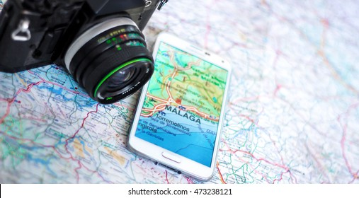 Camera and phone with a map