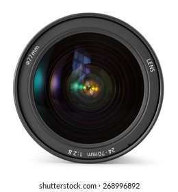 Camera photo lens over white background