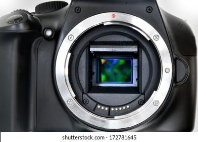 Camera sensor CCD or Cmos closeup