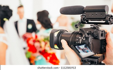 camera show viewfinder image catch motion in interview or broadcast wedding ceremony, catch feeling, stopped motion in best memorial day concept.
