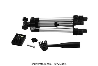 Camera stand tripod put apart with isolated on white background