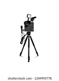 camera with tripod and microphone
