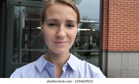 Camera View of Casual Girl Taking Selfie on Phone
