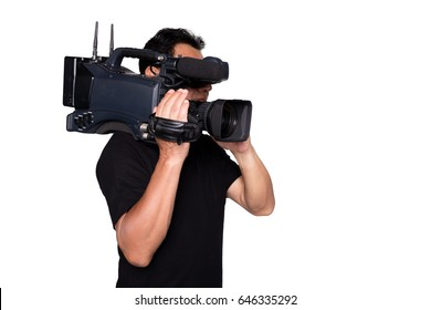 Cameraman senior broadcasting isolated white background