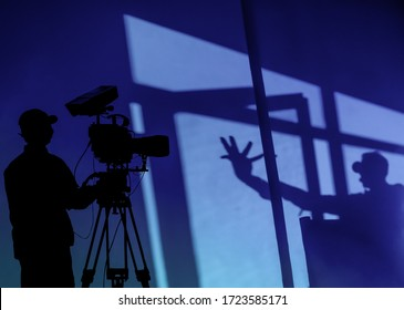 Cameraman silhouette and studio shooting set