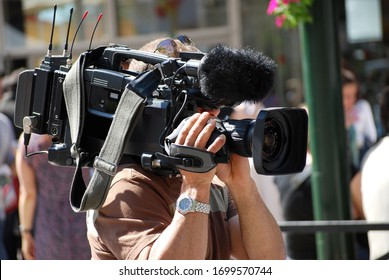 Cameraman of a television channel on the Croisette during the film festival in Cannes, France.