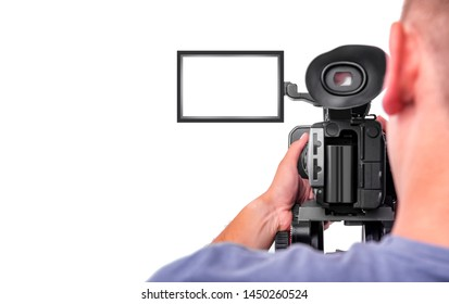 Cameraman. Video camera operator isolated on a white background.