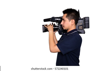 Cameraman young  broadcasting isolated white background