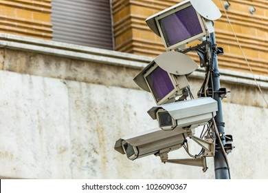 cameras of electronic surveillance system supervise the entrances to the Limited Traffic Area of historical center in Italian city