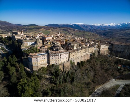 Camerino Le Marche Italy - University city devastated by the Norcia and Visso earthquakes in the Apennine mountains - Drone Aerial Photography