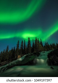 Cameron Falls just outside of Yellowknife, Northwest Territories of Canada in the autumn night.