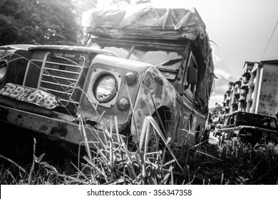 CAMERON HIGHLANDS, MALAYSIA - 3 JULY 2015 :  Wreckage of Land Rover Defender in Cameron Highlands. This extensive hill stations was nicknamed a Land Rover Graveyard.
