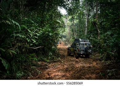CAMERON HIGHLANDS, MALAYSIA - DECEMBER 04, 2016: Rainforest challenge offroad race. Press convoy deep in the jungle