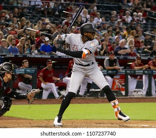 Cameron Maybin center fielder for the Miami Marlins at Chase Field in Phoenix Arizona USA June 3,2018.