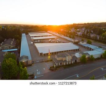 CAMERON PARK, CA, USA   JUN 3, 2018: Aerial View Self Storage