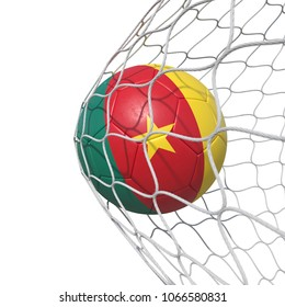 Cameroon Cameroonian flag soccer ball inside the net, in a net. Isolated on white background. 3D Rendering, Illustration.