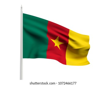 Cameroon flag floating in the wind with a White sky background. 3D illustration.