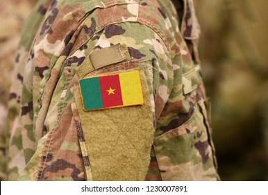 Cameroon flag on soldiers arm. Republic of Cameroon troops (collage)