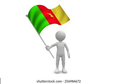 Cameroon Flag waving isolated on white background