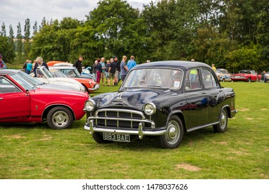 Camerton, UK, August 11, 2019: Morris Oxford, 1957, Reg No 883 BAE, at The Norton Radstock Classic Vehicle Club, Camerton 2019