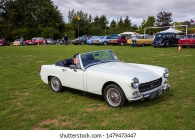 Camerton, UK, August 11, 2019: MG Midget, 1970, Reg No UVY 911H, at The Norton Radstock Classic Vehicle Club, Camerton 2019
