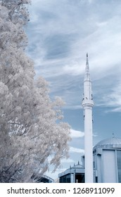 cami camii minaret holy mosque infrared photo church with snowy trees