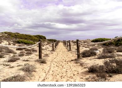 The Cami de Cavalls coastal walk near Son Bou in Minorca island.