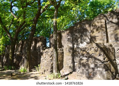 Camiguin Island, Philippines - 04 17 2019: Old church ruins of St. Nino Church