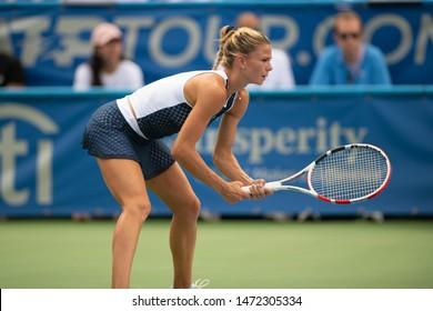 Camila Giorgi (ITA) falls to Jessica Pegula (USA, not pictured) in the finals of the Citi Open tennis tournament on August 4, 2019 in Washington DC