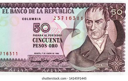 Camilo Torres Tenorio (1766-1816) on 50 Pesos Oro 1986 Banknote from Colombia. Colombian politician. Pesos money. Close Up UNC Uncirculated - Collection