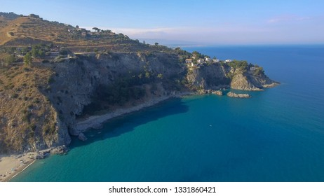 Caminia Lido, panoramic aerial view of Calabria coastline in summer season.