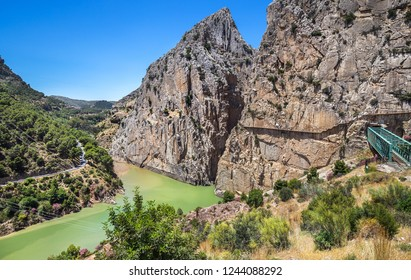 Caminito Del Rey - mountain path along steep cliffs in Andalusia, Spain