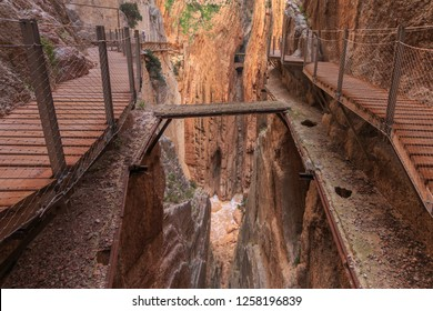 Caminito del rey, old and new way with canyon in background from nature parkland ardales in spain