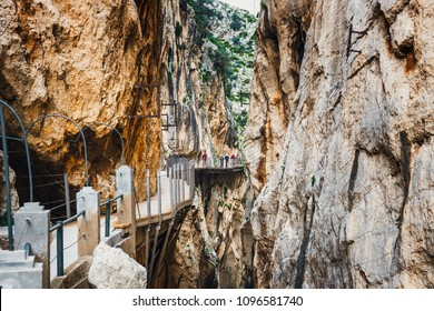 Caminito Del Rey, Spain, April 04, 2018: Visitors walking along the  World's Most Dangerous Footpath reopened in May 2015. Ardales, Spain.