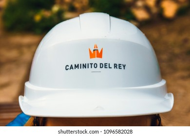 Caminito del Rey, Spain, April 04, 2018: Each participant of the Caminito del rey trip must wear a helmet