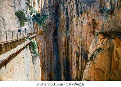 Caminito del Rey, Spain, April 04, 2018: Tourists walk along the El Caminito del Rey, Malaga, Spain
