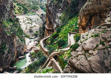 Caminito del Rey, Spain, April 04, 2018: Caminito Del Rey - mountain path along steep cliffs in Andalusia, Spain