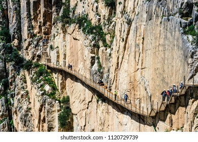 Caminito del Rey, Spain, April 04, 2018: Royal Trail also known as El Caminito Del Rey - mountain path along steep cliffs in gorge Chorro, Andalusia, Spain