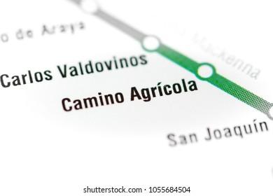 Camino Agricola Station. Santiago Metro map.