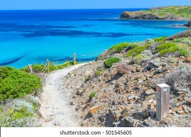 Camino de Caballos (Cami de Cavalls) - famous pathway around Menorca island, Balearic islands, Spain.
