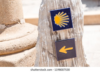 Camino de Santiago Compostela sign shells and trail marks, one of the most popular routes for pilgrim in the World