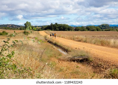 Camino de Santiago (Spain) - Some pilgrims walking along the way of St.James, in the spanish meseta