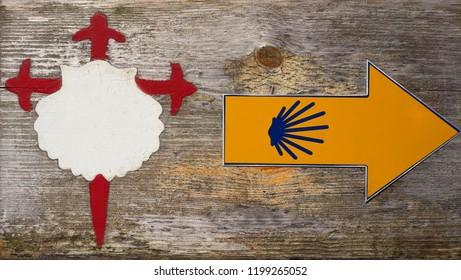 Camino Santiago sign in Combarro Way of Saint James Pontevedra Galicia Spain